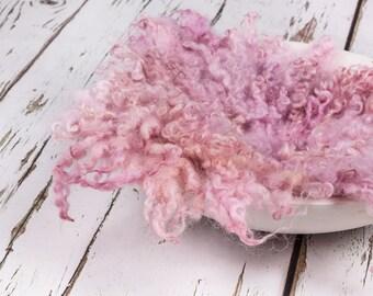 "MINI Felted Curls, ""Dusky Vintage Pink"", basket stuffer, wool fluff, newborn prop, natural merino wool - dusky pink with beige/peach tones"