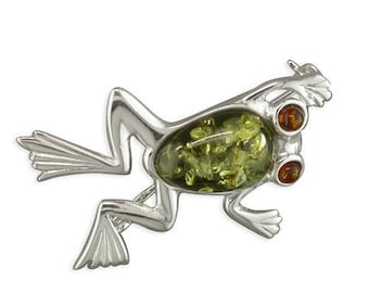 Green Amber-Bodied Frog With Cognac Amber Eyes Sterling Silver Brooch