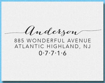 Personalized Calligraphy Address Stamp, Self Inking Address Stamp, RSVP Address Stamp, Custom Calligraphy Address Stamp