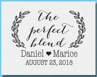 Customized The Perfect Blend Wedding Favor Stamps, Save the Date Wedding Stamp, Personalized Wedding Stamp, Couple Stamp