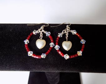Beaded earrings with Swarovski crystals
