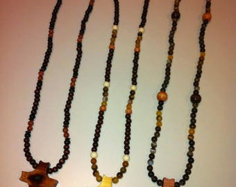 Wooden cross necklaces