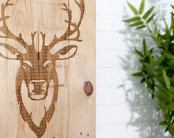 Wooden recycled with stag engraving sign