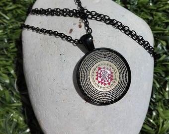 Black Cabochon Mandala necklace