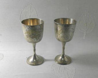 two silver plated goblets/1930s/Vintage/ E.P.N.S./British