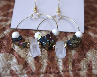 Gold and White Arrow Quartz Hoop Earrings