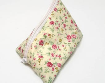 Cherry floral / Flower / floral zip pouch and doubled for storing coins, keys or other accessory