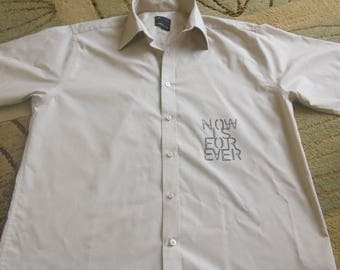 Light coffee colour long sleeve shirt ( needs cufflinks) with added features