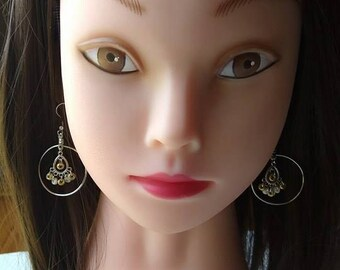 Hoop earrings with Gold and white seed beads