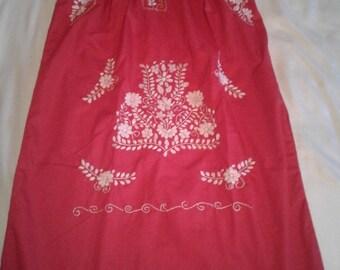 Medium - Red (Regular Length / Below Knee) Mexican Dress #R102