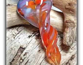 Flaming June**Handmade Lampwork Beads**Twisted Heart Focal