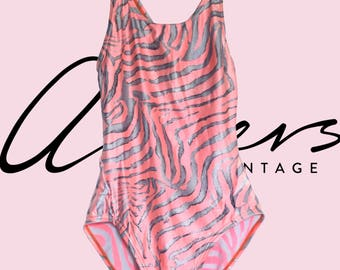 Vintage Zebra Stripes in Pink High-Cut One Piece Swimsuit (S,M)