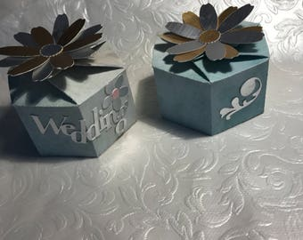 Beautiful floral Wedding favour boxes. Handmade, any colour. (None Personalised)