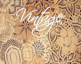 30 Vintage Shabby Chic Doilies, Lot of vintage doilies, vintage doilies,