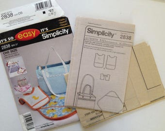 Simplicity 2838, diaper bag, bib, blanket, Uncut sewing pattern, easy sew, one size, baby shower