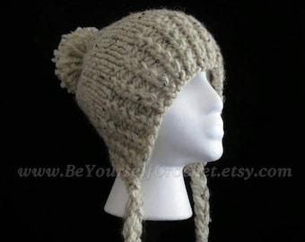 Hand Knit Slouchy Ear Flap Hat- Split Brim- Braids