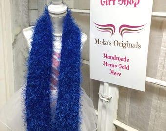 Blue fluffly scarf