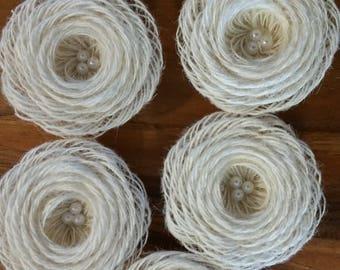 Burlap loopFlowers/pearls - Rustic Wedding Decoration, Craft Projects Lot of 6