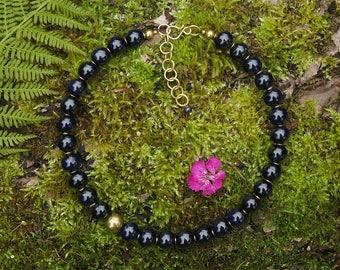 Night Blue Handmade Ceramic Beads Brass Necklace