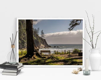 Ocean Bench Photography Print, Wall Art, Color Print, Printable Art, Instant Digital Download Print
