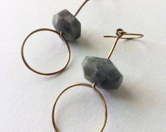 Labradorite + Brass Earring