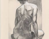Female nude ORIGINAL CHARCOAL Woman nude drawing. Classical nude art. Posing nude. Art of naked. Size: