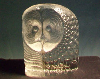 Large Mats Jonasson Crystal Owl Paperweight Signed