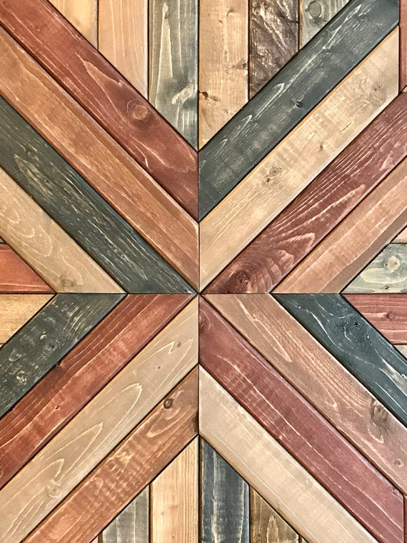 Wood Wall Hanging Art Part - 41: Large Rustic Reclaimed Wood Geometric Wood Wall Hanging Art