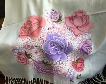 Hand Painted Roses and Hydrangeas on an Ivory Pashmina Wrap Shawl