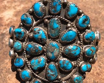 Native American Jewelry, Vintage Turquoise Bracelet, Old Pawn, Southwestern, Navajo Cuff Bracelet, Morenci Turquoise, ClusterJewelry, Boho