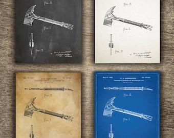 Fireman Axe Patent Print, Fireman Axe Poster, Fireman Axe Blueprint, Fireman Axe Set of 4 Prints, Fireman Axe Patent INSTANT DOWNLOAD