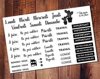 Set of french stickers for Planner, journal, etc.