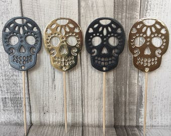 Black and gold skull cupcake toppers, Halloween , party, celebrations, skull cake toppers.