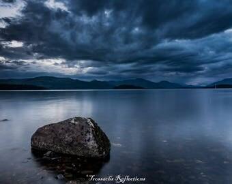 Storm clouds Loch Lomond mounted print