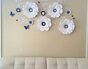 Paper flowers wall decor. Large white paper flowers wall. Nursery navy flowers wall. Wedding flower backdrop. Girls room flowers wall decor.