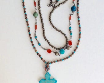 Boho Necklace of Turquoise and Coral