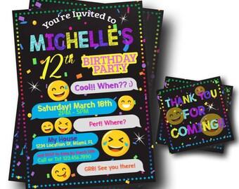 Emoji Party Invitation - Tween Party Invite - Text Emoji Invitation - Free Thank You Cards - Digital Invite