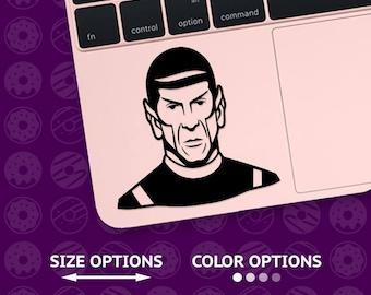 spock, star trek decal, star trek sticker, spock decal, spock sticker, macbook decal, dr spock, vulcan decal, enterprise decal