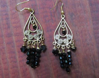 Beautiful Ornately Designed Gold Metal Dangling Earrings with Seven Dangling Strands of Black Swarovski Crystals