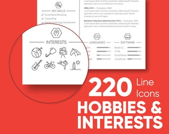 220 Hobbies and Interests - Icon Set / Stickers / Stamps /