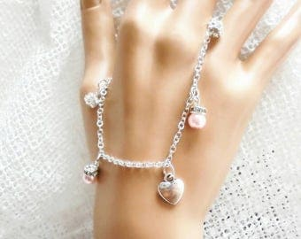 Handmade charm bracelet, bridesmaid gift, maid of honor gift, mother of bride gift.