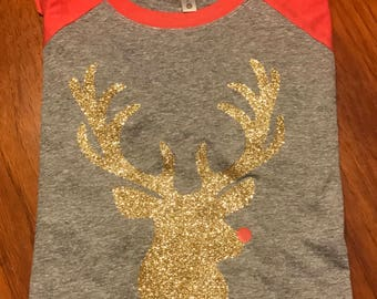 Glitter Rudolph raglan
