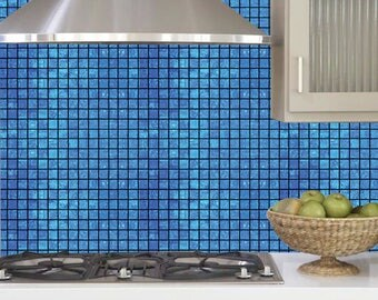 Self Adhesive Peel and Stick DIY Blue Mosaic Tile Background / Includes Tools