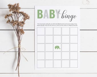 Green Baby Shower Bingo, Gender Neutral Baby Shower Bingo Cards
