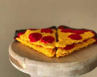 Crochet Pizza Bunting, Set of 6
