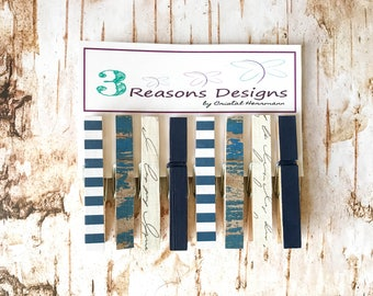 Decorative Clothespins - Nautical Clothespins - Summer - Party Banner - Fridge Magnet - Office Organization - Photo Banner - Card Display