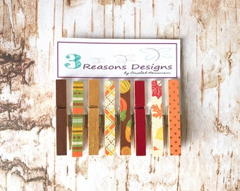Decorative Clothespins - Fall Decor - Autumn Decor - Party Banner - Fridge Magnet - Office Organization - Clip - Photo Holder - Card Display