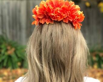 Orange Dahlia Flower Crown