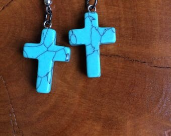 Turquoise Cross Earrings, Crosses, Blue Cross, Stone Cross