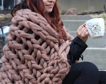 Arm knitted Throw blanketed